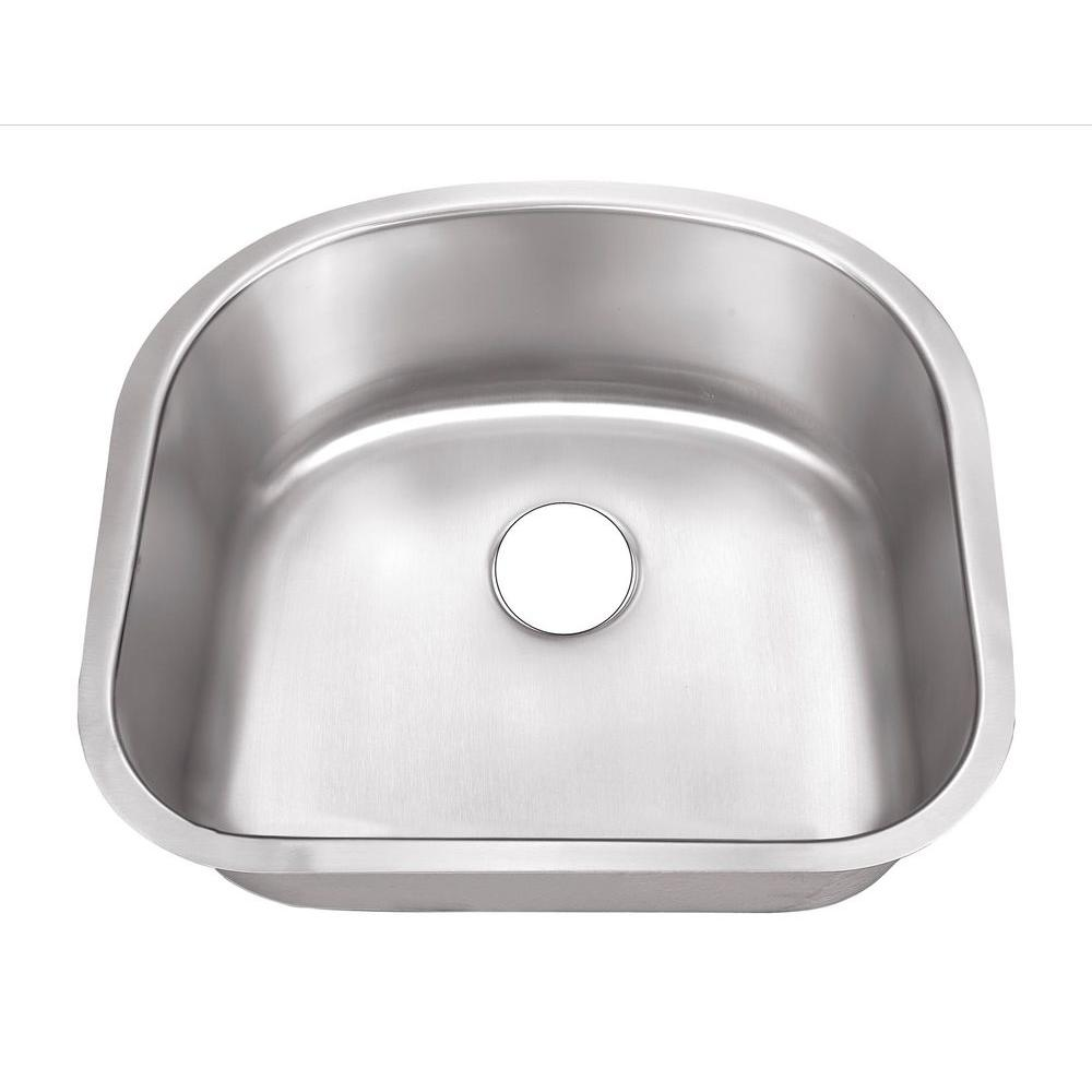 Belle Foret Undermount Stainless Steel 23 In. 0 Hole Single Bowl Kitchen  Sink BFSB508   The Home Depot