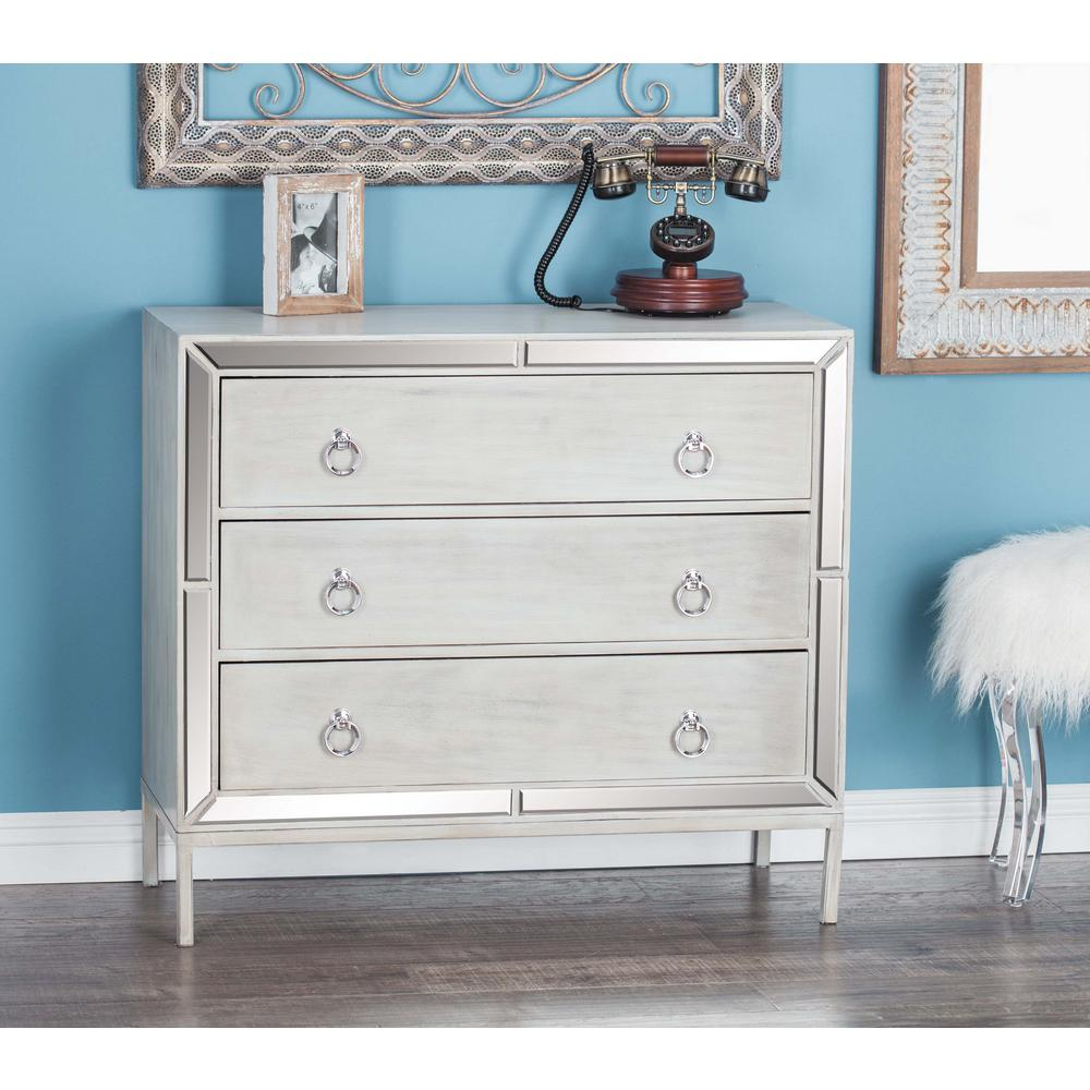 35 in. x 32 in. Contemporary Gray Wood and Mirror Cabinet