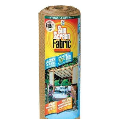 6 ft. x 150 ft. Heavy-Duty Sun Screen Fabric Shade Canopy in Saddle Tan