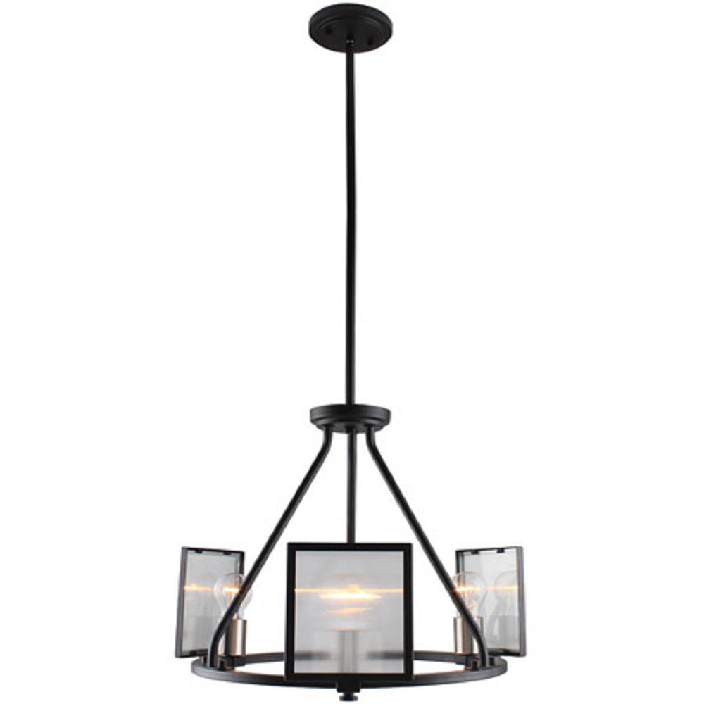 Eglo Henessy 3-Light Black and Brushed Nickel Chandelier with Reeded Glass
