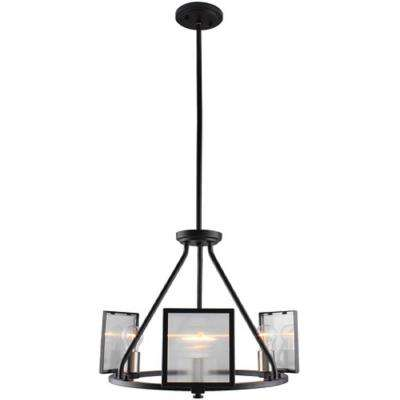 Henessy 3-Light Black and Brushed Nickel Chandelier with Reeded Glass