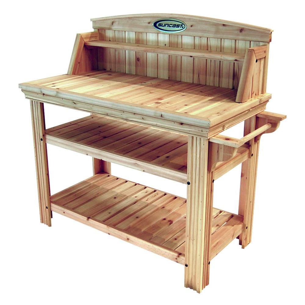 Pleasing Suncast Cedar Potting Table Frankydiablos Diy Chair Ideas Frankydiabloscom