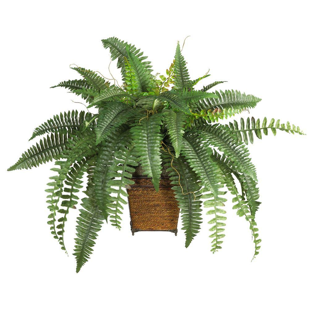 nearly natural 23 in. boston fern silk plant with wicker basket-6549