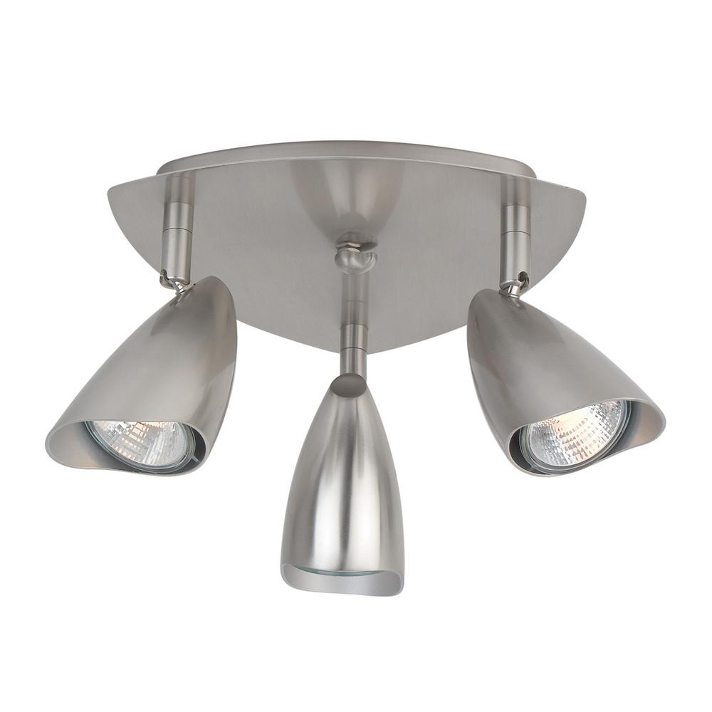 Grayson 3 Light Brushed Steel Canopy Track Lighting Kit