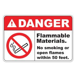 Click here to buy  Rectangular Plastic Danger Flammable Materials Safety Sign.
