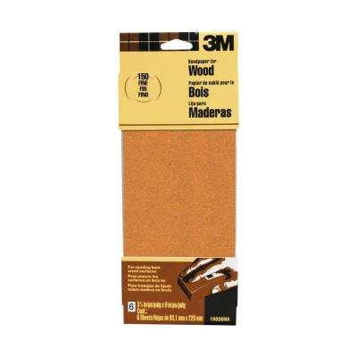 3-2/3 in. x 9 in. 150 Grit Fine Sandpaper 6 Sheets-Pack (Case of 20)