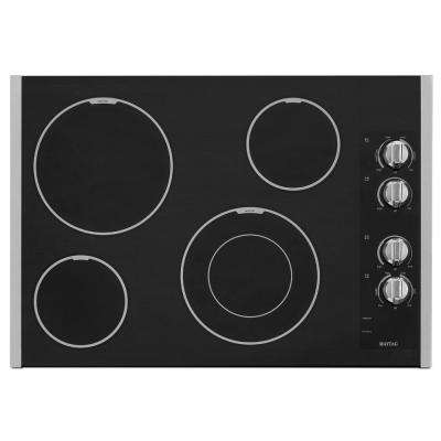 30 in. Ceramic Glass Electric Cooktop in Stainless Steel with 4 Elements including Dual Choice and Speed Heat Elements