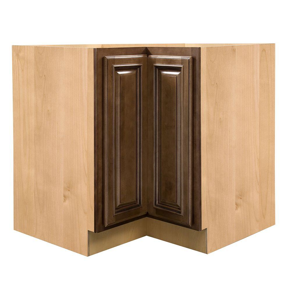 Home Decorators Collection Huntington Assembled 36 x 34.5 x 24 in. Base Easy Reach Corner Cabinet in Chocolate Glaze