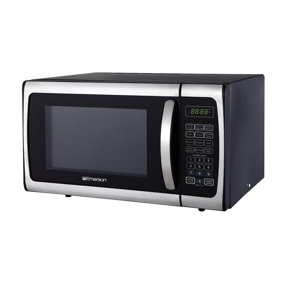 Emerson 0 9 Cu Ft 900 Watt Countertop Microwave Oven Stainless Steel