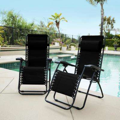 Caravan Black Metal Infinity Zero Gravity Patio Chair (2-Pack)