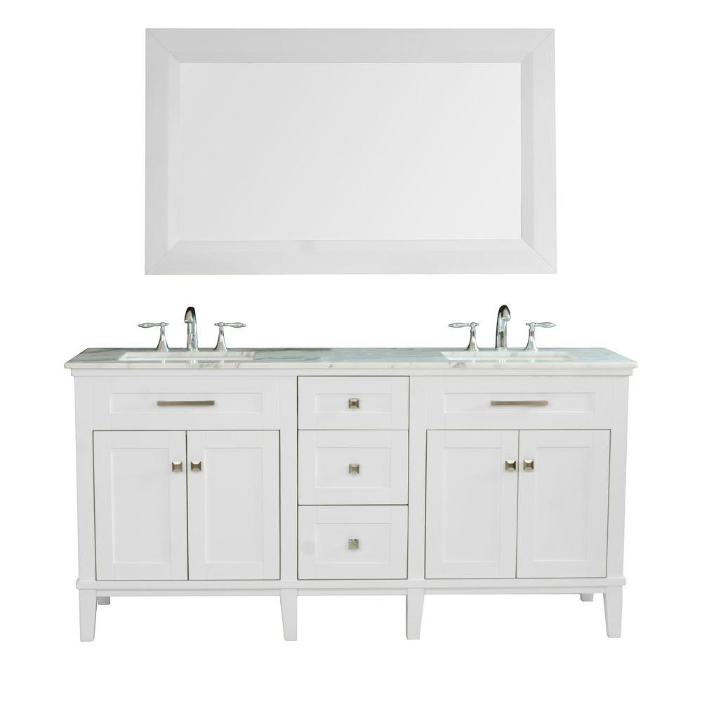 stufurhome Christine 72 in. Vanity in White Finish with White Marble Vanity Top and Mirror