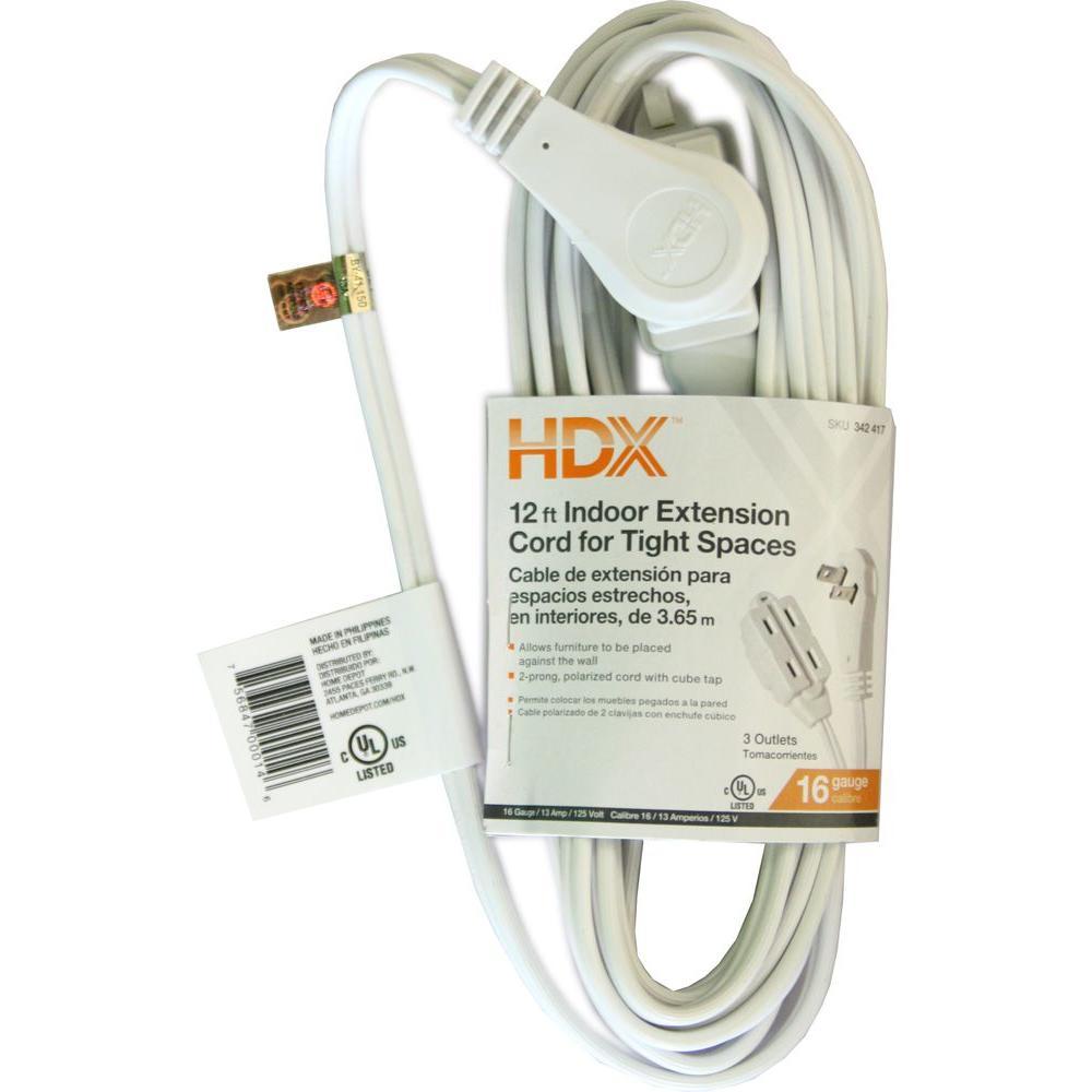 12 ft. 16/2 SPT-2 Slender Plug Extension Cord in White