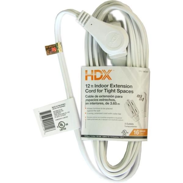 12 ft. 16/2 Indoor Tight Space Cube Tap Extension Cord, White