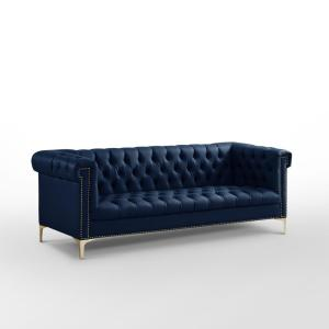 Ramona Navy/Gold PU Leather Sofa with Button Tufted