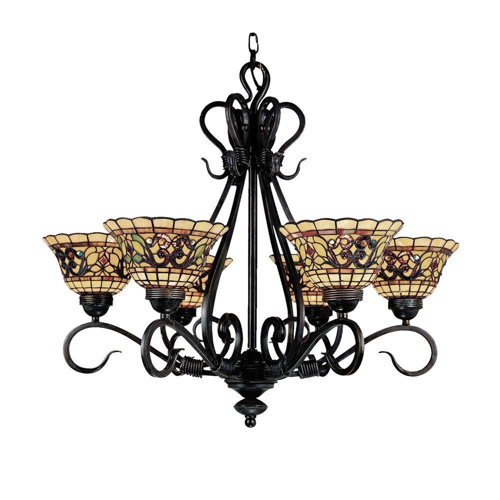 Titan Lighting Tiffany Buckingham 6-Light Vintage Antique Chandelier With  Tiffany Glass Shades - Titan Lighting Tiffany Buckingham 6-Light Vintage Antique Chandelier
