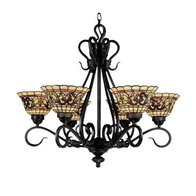 Tiffany Buckingham 6-Light Vintage Antique Chandelier With Tiffany Glass Shades