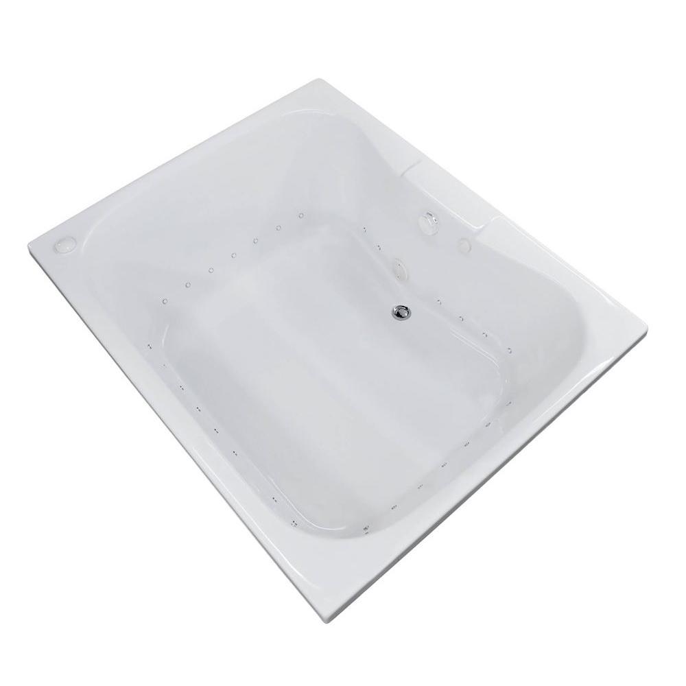Rhode 5 ft. Rectangular Drop-in Air Bath Tub in White