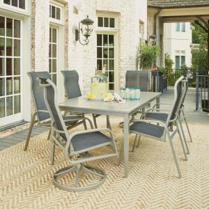Home Styles South Beach Gray 7-Piece Aluminum Round Outdoor Dining Set by Home Styles