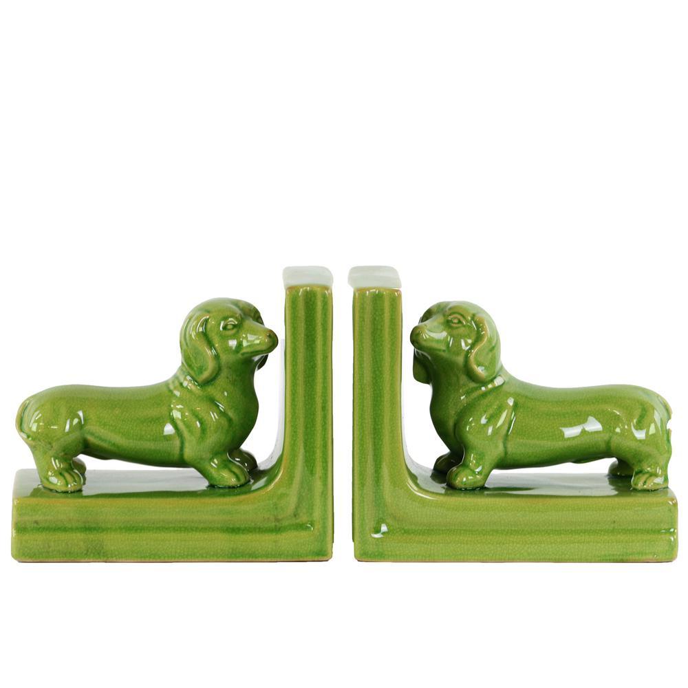 Urban Trend 6.5 in. H Dog Decorative Figurine in Green Gl...