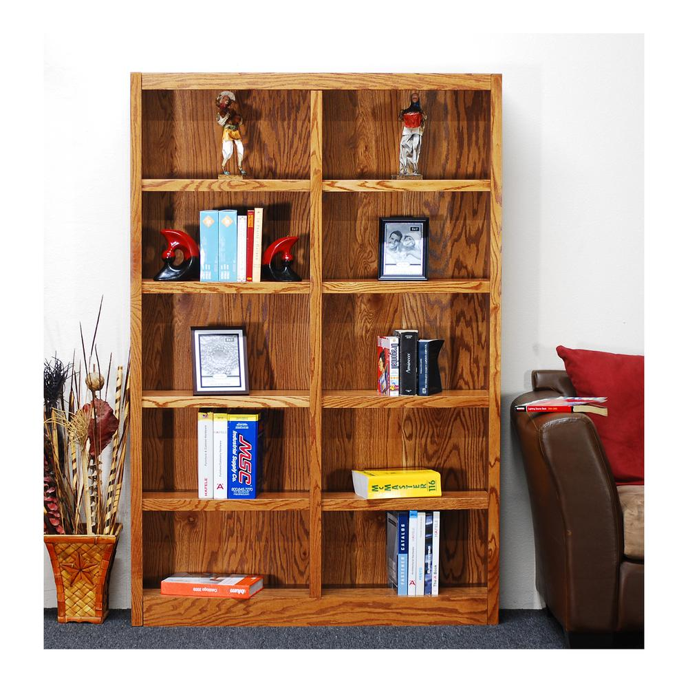 Concepts In Wood Midas Double Wide 10-Shelf Bookcase in Dry Oak