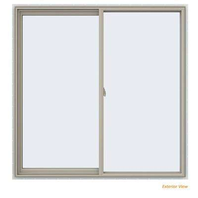 59.5 in. x 59.5 in. V-2500 Series Desert Sand Vinyl Left-Handed Sliding Window with Fiberglass Mesh Screen