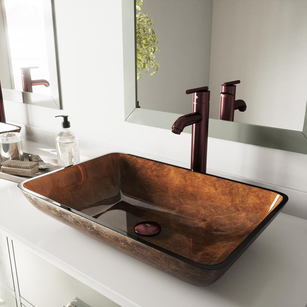 Vigo Rectangular Glass Vessel Sink In Russet Glass With