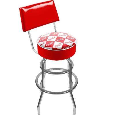 Checker Coca Cola 30 in. Chrome Swivel Cushioned Bar Stool