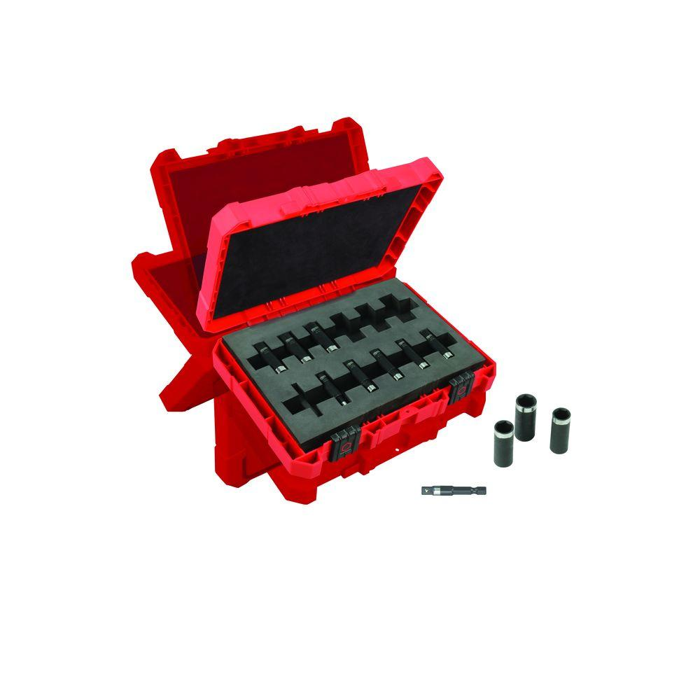 Milwaukee 1/4 in. Drive Metric Shockwave Impact Duty Deep Well Socket Set (12-Piece)
