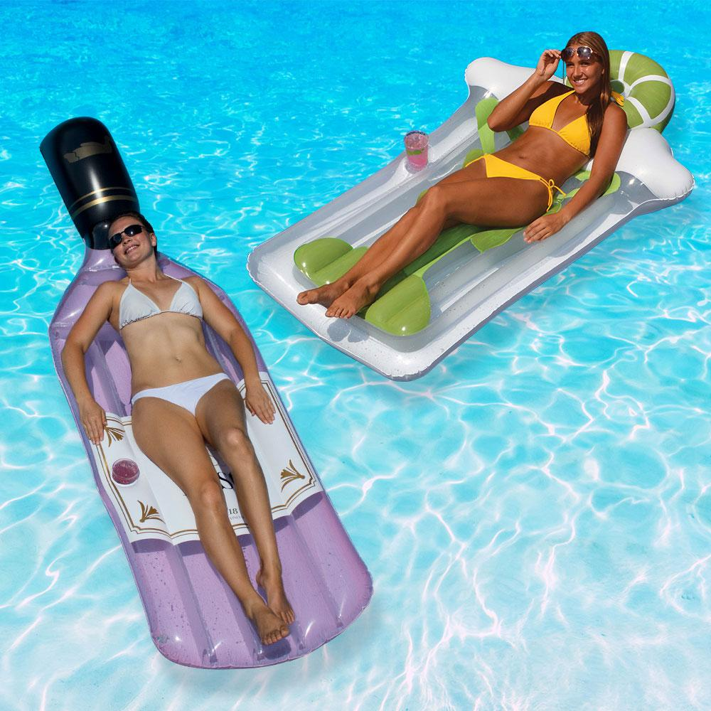 Swimline Bottle of Rose and Margarita Mattress Swimming Pool Float Combo  Pack