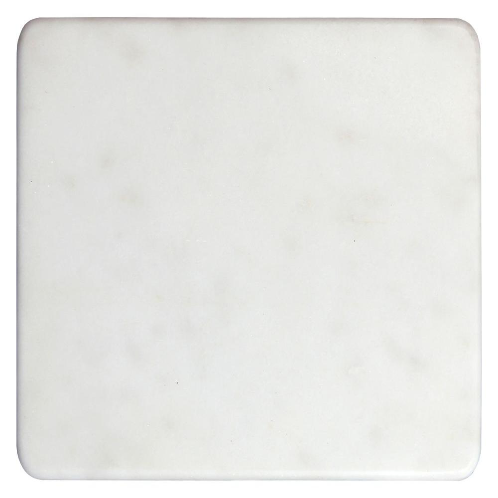 White 12 in. x 12 in. Polished Marble Cheese and Pastry