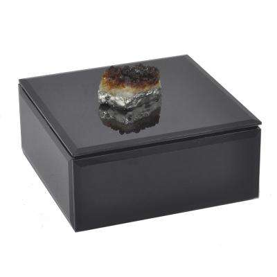 Black Glass Box with Agate Stone