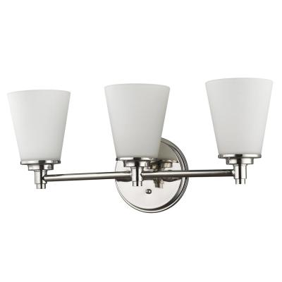 Conti 3-Light Polished Nickel Vanity Light with Etched Glass Shades