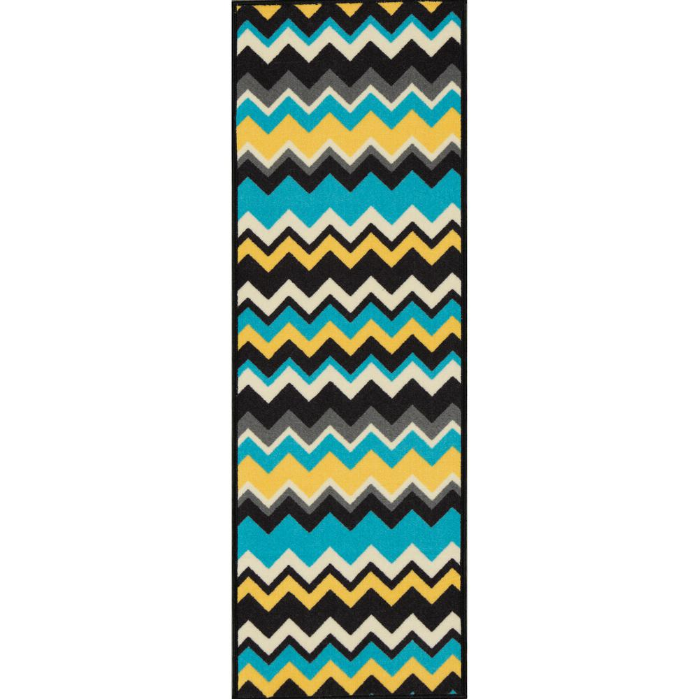 Ottomanson Studio Collection Waves Design Blue 2 ft  x 5 ft  Non-Skid  Runner Rug