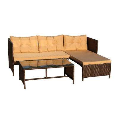 Brown 3-Piece Wicker Patio Conversation Set with Brown Cushions