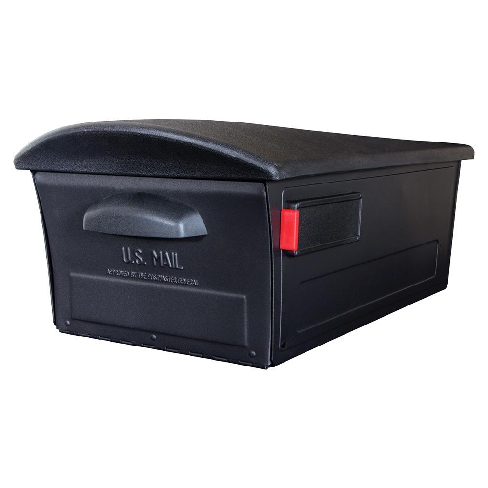Gibraltar Mailboxes Mailsafe Large, Plastic, Locking, Post Mount Mailbox, Black