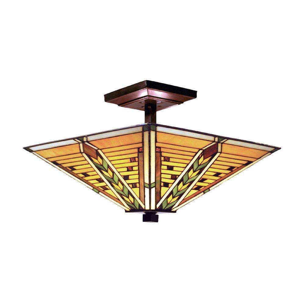 Titan Lighting 3-Light Tiffany Bronze Ceiling Semi Flush Mount-DISCONTINUED