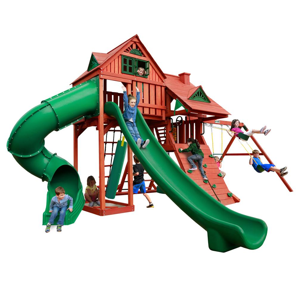 Gorilla Playsets Sun Palace Deluxe Wooden Swing Set with 2 Slides and Punching Bag