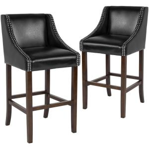 30 In Black Leather Bar Stool Set Of 2