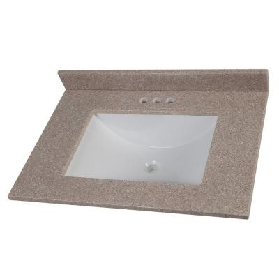 31 in. Solid Surface Vanity Top in Ginger with White Sink