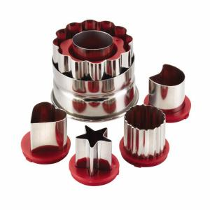 Click here to buy Cake Boss Decorating Tools 6-Piece Red Classic Linzer Cookie Cutter Set by Cake Boss.