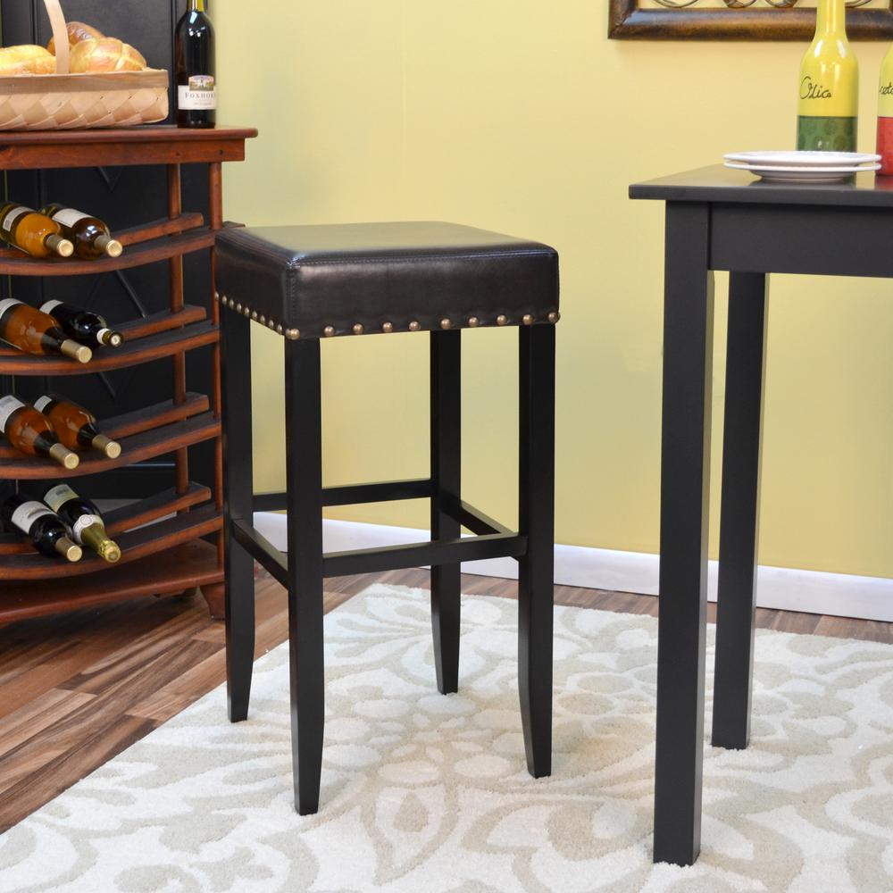 Romero 30 in. Antique Black Cushioned Bar Stool