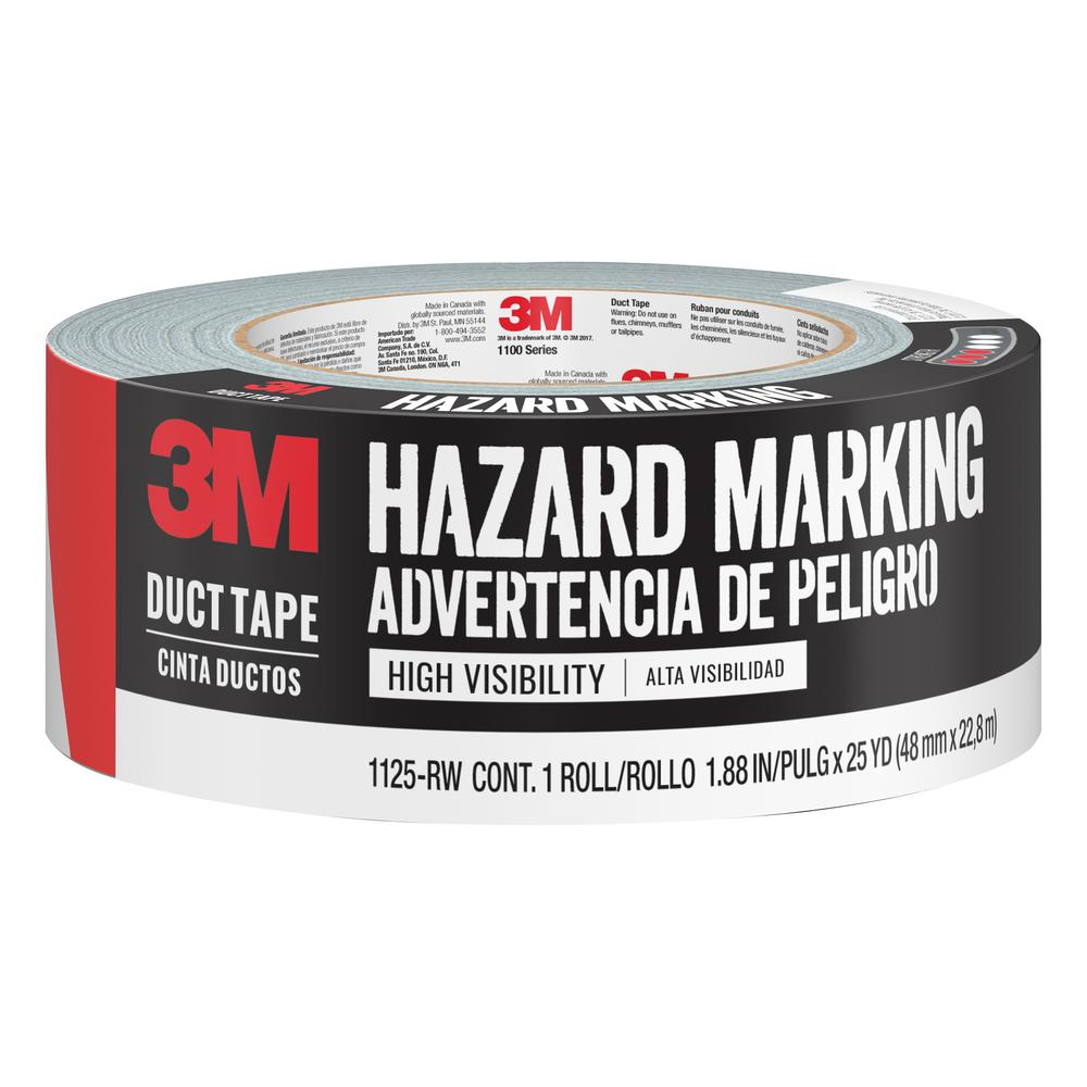 1.88 in. x 25 yds. Red/White Hazard Marking Duct Tape (Case