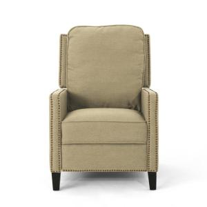 Cecelia Traditional Dark Beige Fabric Recliner with Stud Accents