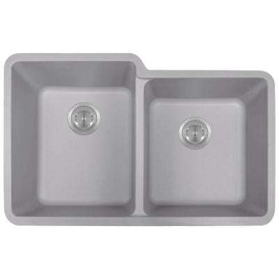 Undermount Quartz 32.5 in. 0-Hole Double Bowl Kitchen Sink in Silver