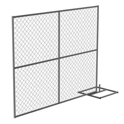 HRAIL 72 in. Galvanized Silver Construction Barrier - Add On Unit Chainlink Without Slats