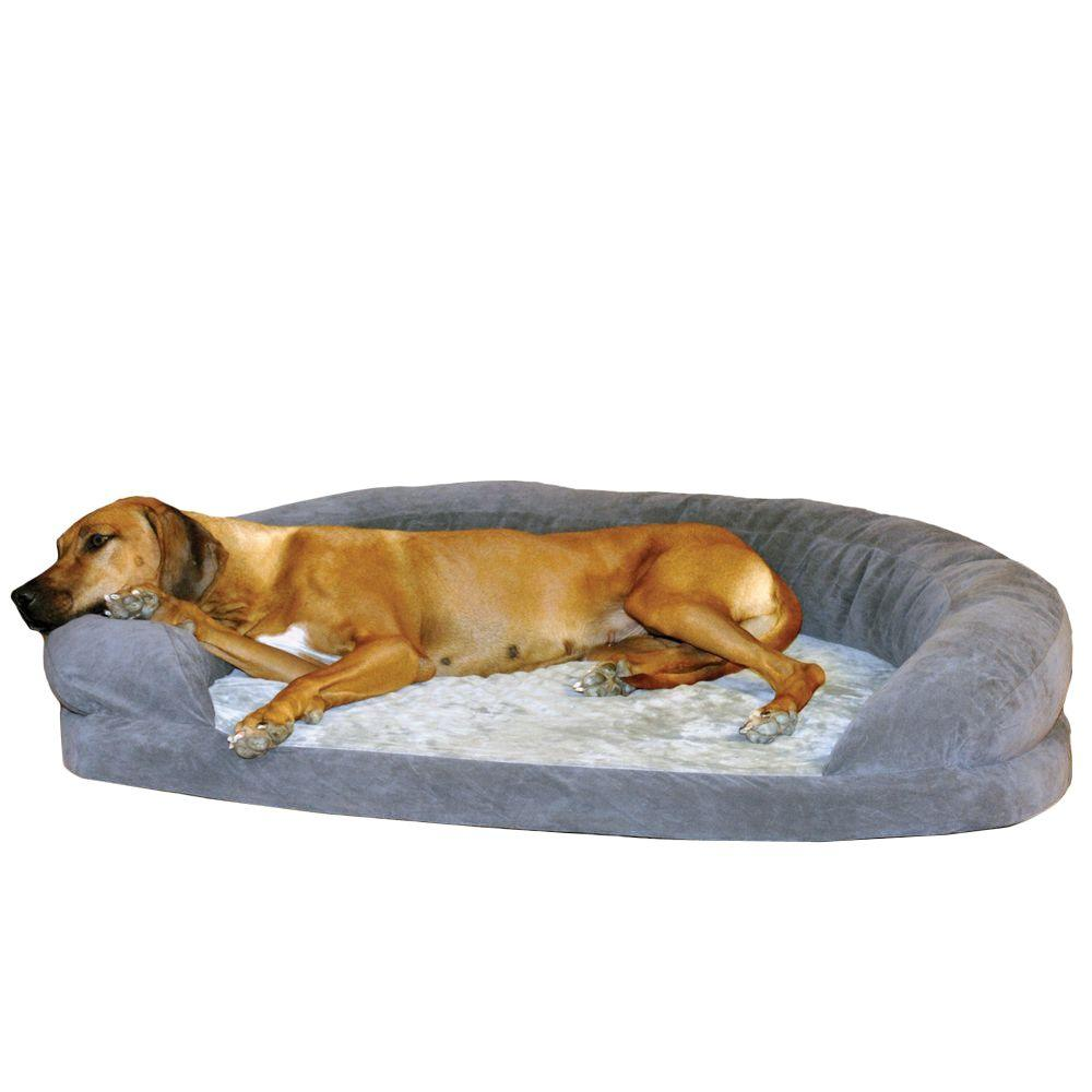 Ortho Bolster Sleeper Extra Large Gray Velvet Dog Bed