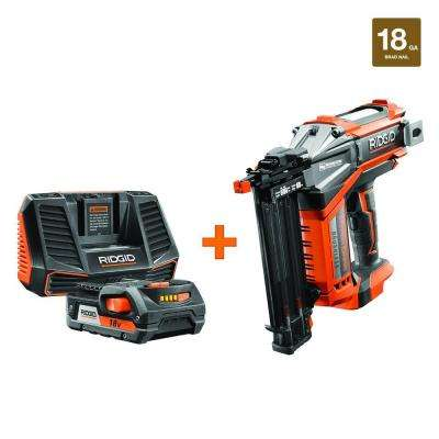 18-Volt Li-Ion Cordless Brushless HYPERDRIVE 18-Gauge 2-1/8 in. Brad Nailer,2.0 Ah Battery,Charger,Nails,Belt Clip,Bag