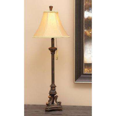 31 in. Traditional Carved Bronze Antique Pedestal Buffet Lamp