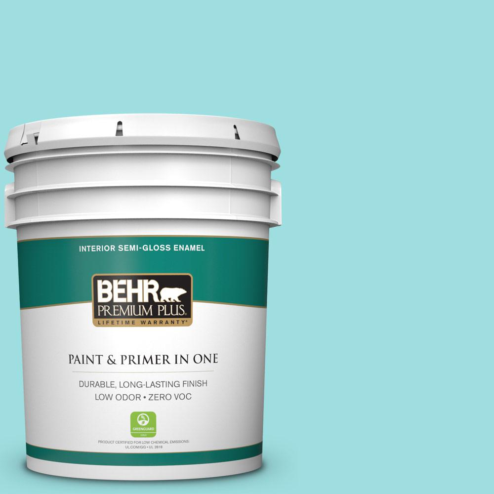 BEHR Premium Plus 5 gal. #P460-2 Tropical Waterfall Semi-Gloss Enamel Zero VOC Interior Paint and Primer in One