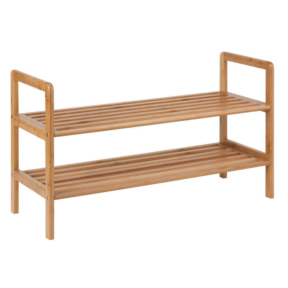 16 in. H x 10 in. W 8-Pair 2-Shelf Natural Bamboo Shoe Rack